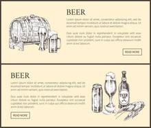 Beer Barrel, Bottle, Can, Glass And Snack Landing Page