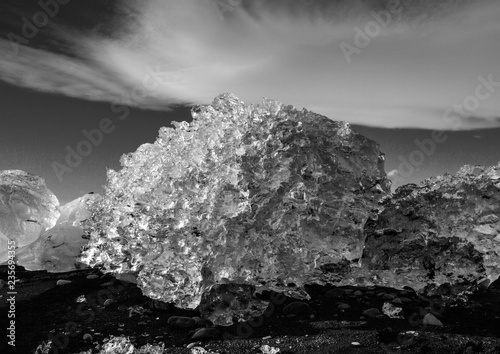 Fotobehang Donkergrijs Dramatic landscape of Iceland. Beauty of nature concept background. Impressive autumn panorama in black and white. Beautiful landscape.