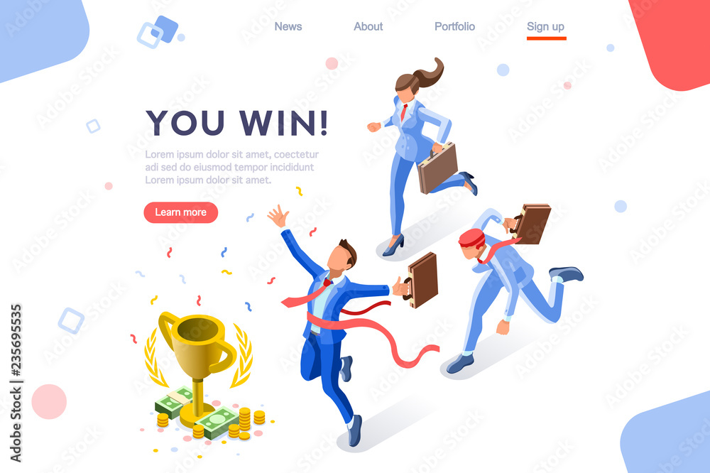 Fototapeta Cup challenge reward, top prize, happy target images. Luck on competition, financial event, fortune and victory for the growth. Winner with coins and employees. Flat isometric vector illustration.