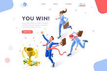 Cup Challenge Reward, Top Prize, Happy Target Images. Luck On Competition, Financial Event, Fortune And Victory For The Growth. Winner With Coins And Employees. Flat Isometric Vector Illustration.