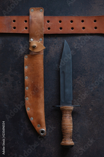 Photo  Combat soldier Stainless steel fighting knife with leather handle, scabbard and leather belt in  wooden vintage frame