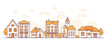 Town Life - Modern Thin Line Design Style Vector Illustration