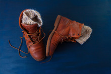 Old Boot Red Brown Shoes Blue Top View Background Leather Laces High Canvas Dirty Wool Knitted Warm Gray Socks