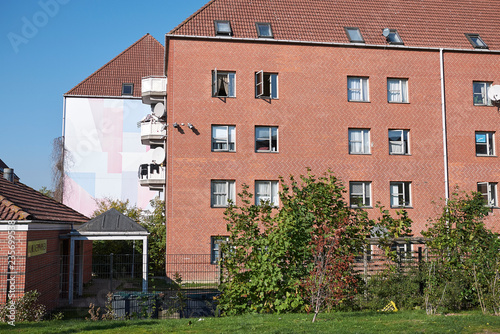 Copenhagen, Denmark - October 11, 2018 : View of buildings in Superkilen park Wallpaper Mural