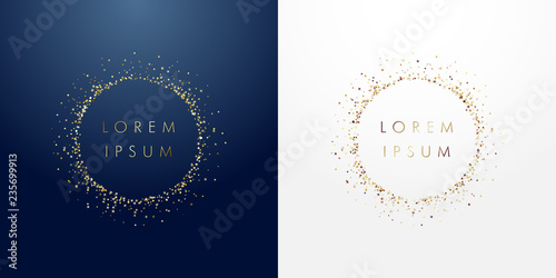 Fotografía  Golden sparkling ring with dust glitter graphic on dark blue ang white background