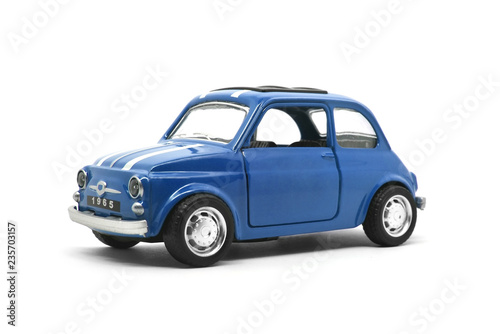 Recess Fitting Vintage cars blue retro car toy model isolated on white