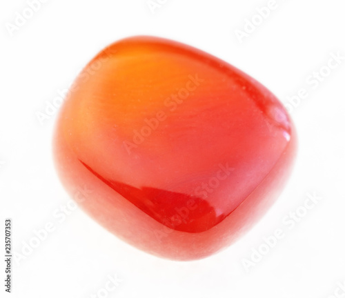 Valokuvatapetti polished carnelian (cornelian) gem stone on white