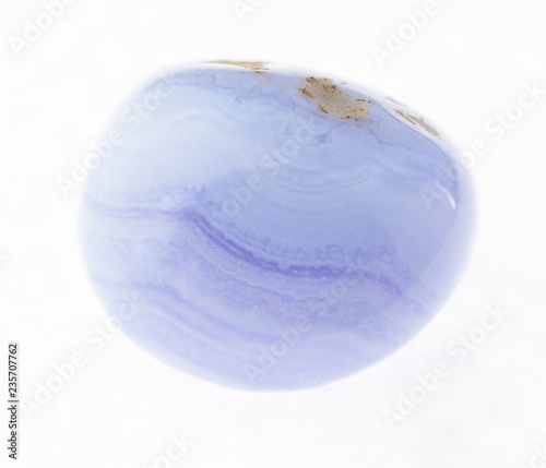 Vászonkép tumbled blue lace agate (sapphirine) gem on white