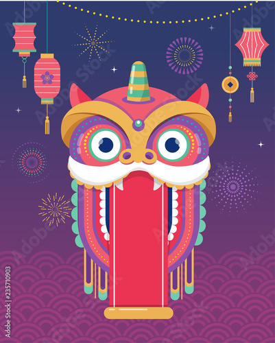 Chinese New Year background, greeting card with a lion dance, red dragon charact Fototapet