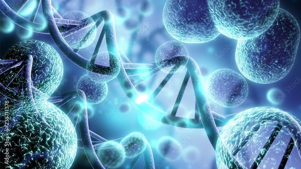 Fototapeta Close-up of virus cells or bacteria on light background