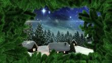 Christmas Tree Border With Winter Snow Village