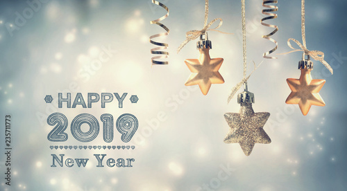 Happy New Year 2019 message with hanging star ornaments