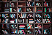 Old Library Shelves With Books