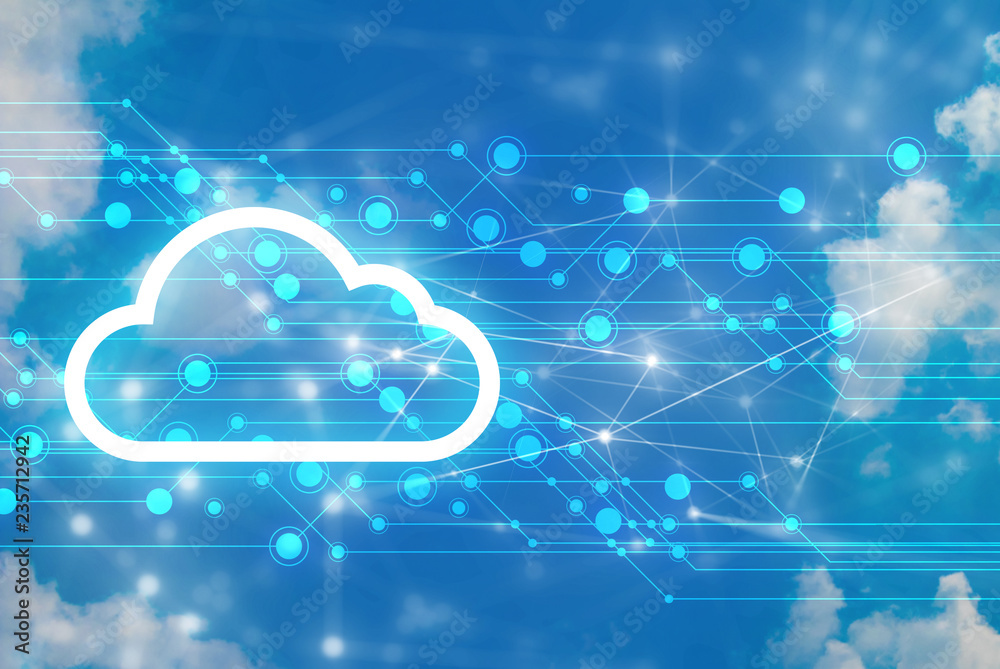 Fototapeta server data deep learning hologram ai technology robotic, futuristic cyber network, system of cloud storage, security and internet of things, online electric