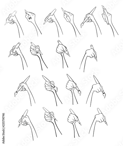 A Set of Vector Cartoon Illustrations. Hands with Different Gestures for you Design. Felt-tip pen. Handle. Pencil. Brush. Coloring Book. Outline