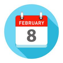 February 8 Single Day Calendar Style