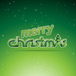 Green Glossy Merry Christmas Text Design Vector Illustration