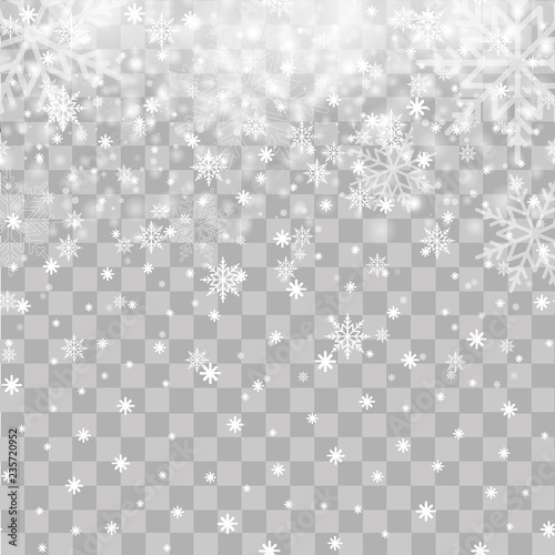 Fototapeta Falling snowflakes on transparent background for Christmas or New Year. Vector obraz na płótnie