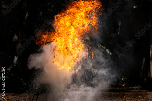 Fotografie, Obraz  Flames caused by the explosion of the oil