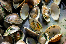 Close Up Of Steamed Clams With Spring Herbs