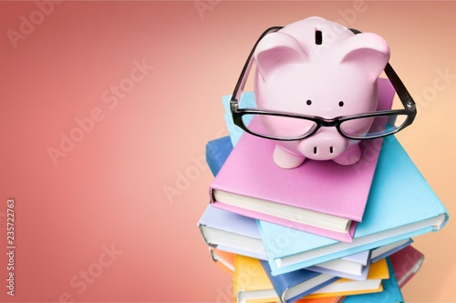 Fototapeta Piggy bank in glasses and books on background obraz