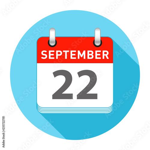 Tela  September 22 Single Day Calendar Flat Style