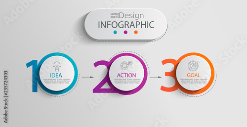Paper infographic template with 3 circle options for presentation and data visualization Canvas Print