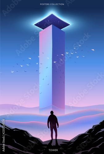 Surreal vector poster. Motivation and success. Tower. Fototapeta