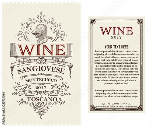 Fototapety, obrazy: Vintage wine label with heraldic element. Vector layered