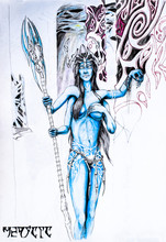 Four-handed Woman From The Planet Pandora. Blue Avatar Man. Elf Girl Is Very Beautiful With Tits And Four Arms.