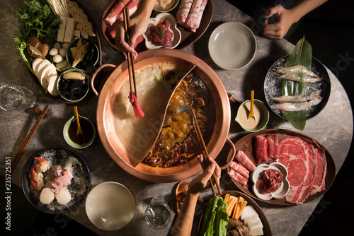 Hot pot meal in a restaurant - 235725351