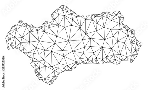 Polygonal mesh map of Andalusia Province in black color. Abstract mesh lines, triangles and points with map of Andalusia Province. Wire frame 2D polygonal line network in vector format.