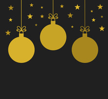Christmas Gold Baubles Greeting Card.