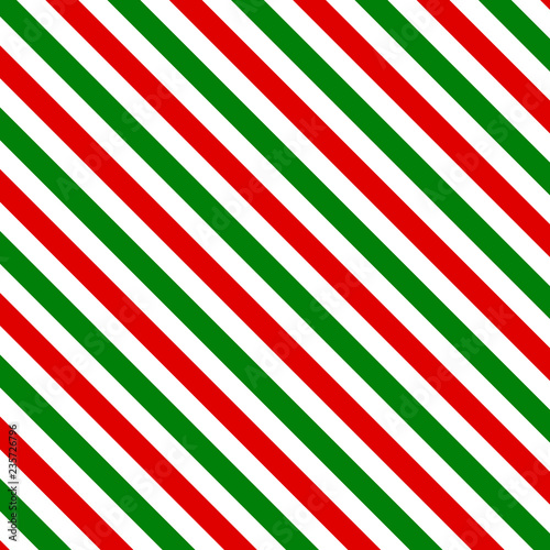 Red and green Christmas stripes geometric pattern Fototapeta