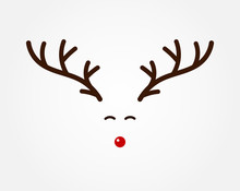 Christmas Reindeer Symbol, Antlers And Red Nose.