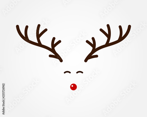 Christmas reindeer symbol, antlers and red nose. Fototapet