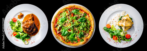 Fotografie, Tablou italian food set isolated on black , pizza, beef cheeks and fish