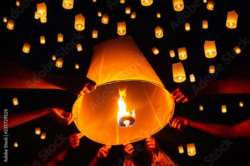 Fotografie, Obraz  Floating lantern festival, Yi Peng in Chiang mai, Thailand
