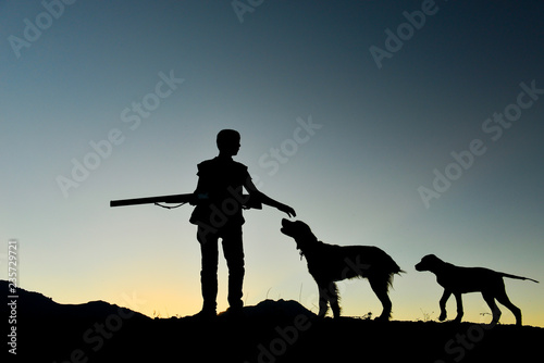 Poster Chasse hunting man and his faithful companions hunting preparation with dogs