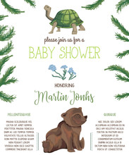 Baby Shower Invitation With Teddy Bear, Turtle, Flowers, Fir Tree And Leaves. Cute Cartoon Characters. Hand Drawn Vector Illustration In Watercolor Style