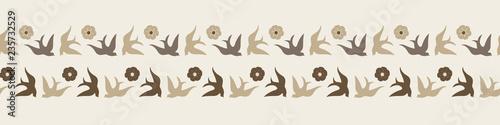Fotografija  Pretty folk art style birds and flowers in neutral colors make this vector border unique