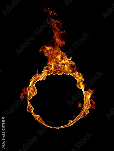 Photo Stands Fire / Flame Burning ring in black