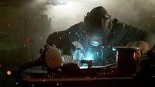 Super Slow Motion Of Working Welder In Workshop, Filmed On High Speed Cinema Camera, 1000 Fps.