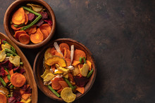 Dried Vegetables Chips From Carrot, Beet, Parsnip And Other Vegetables. Organic Diet And Vegan Food.