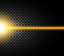 Abstract Yellow Laser Beam. Isolated On Transparent Black Background. Vector Illustration, Eps 10.