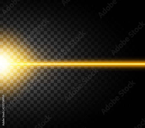 Obraz Abstract yellow laser beam. Isolated on transparent black background. Vector illustration, eps 10. - fototapety do salonu