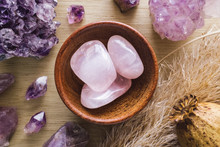 Teak Bowl Of Rose Quartz With Amethyst Crystals And Dried Poppy Flower