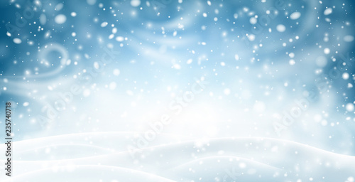 Photo Blue shiny banner with winter landscape, snow and blizzard.