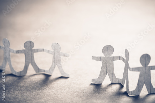 Paper Human Chain With Gap Space Fotobehang