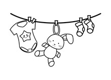 Baby Clothes And Toy Drying Hanging
